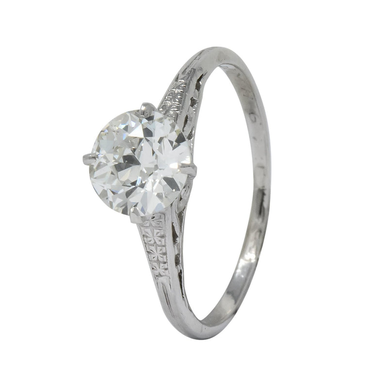 Edwardian 1.23 CTW Diamond Platinum Solitaire Engagement Ring GIA Ring