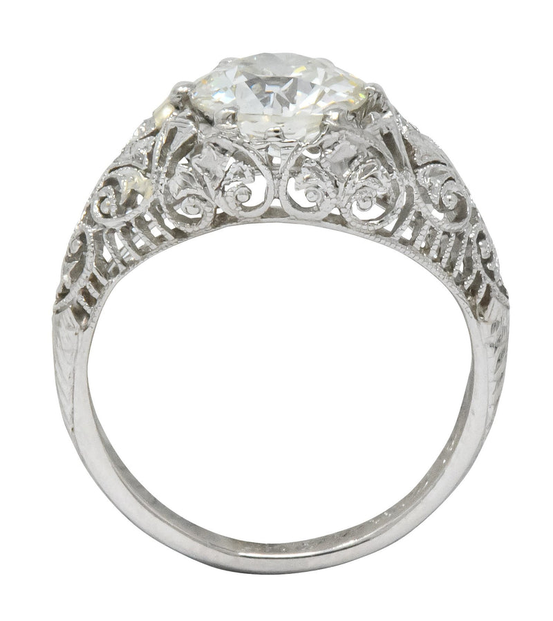 Edwardian 1.25 CTW Old European Diamond Platinum Engagement Ring GIA Ring