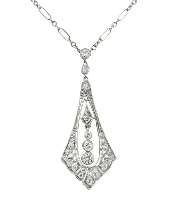 Edwardian 1.40 CTW Diamond Platinum 14 Karat White Gold Drop Necklace Binder Bros. Necklace
