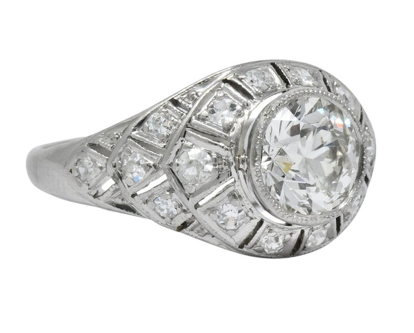 Edwardian 1.40 CTW Old European Diamond Platinum Engagement Ring GIA Circa 1910 Ring