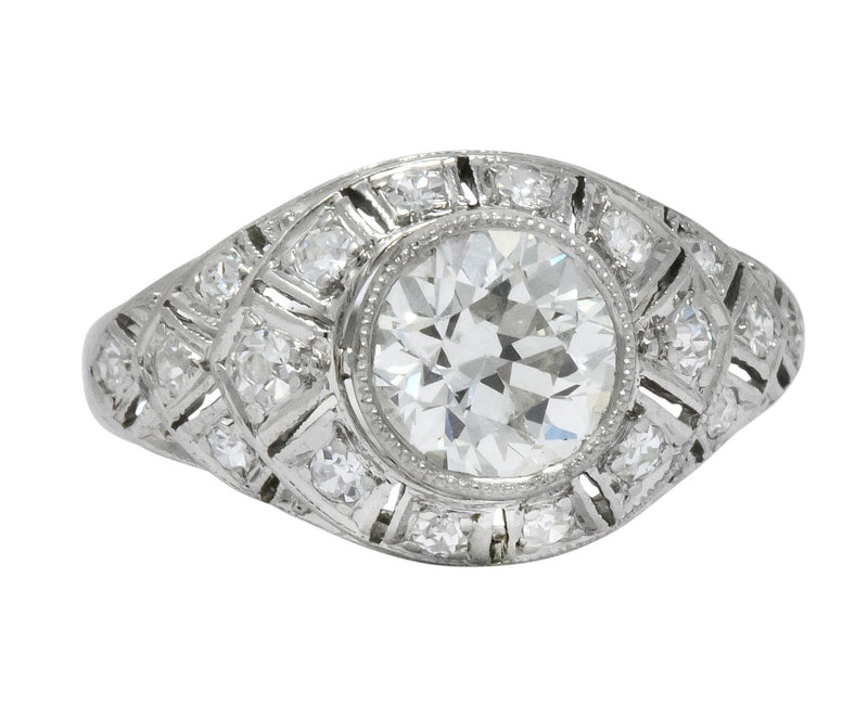 Edwardian 1.40 CTW Old European Diamond Platinum Engagement Ring GIA Circa 1910 - Wilson's Estate Jewelry