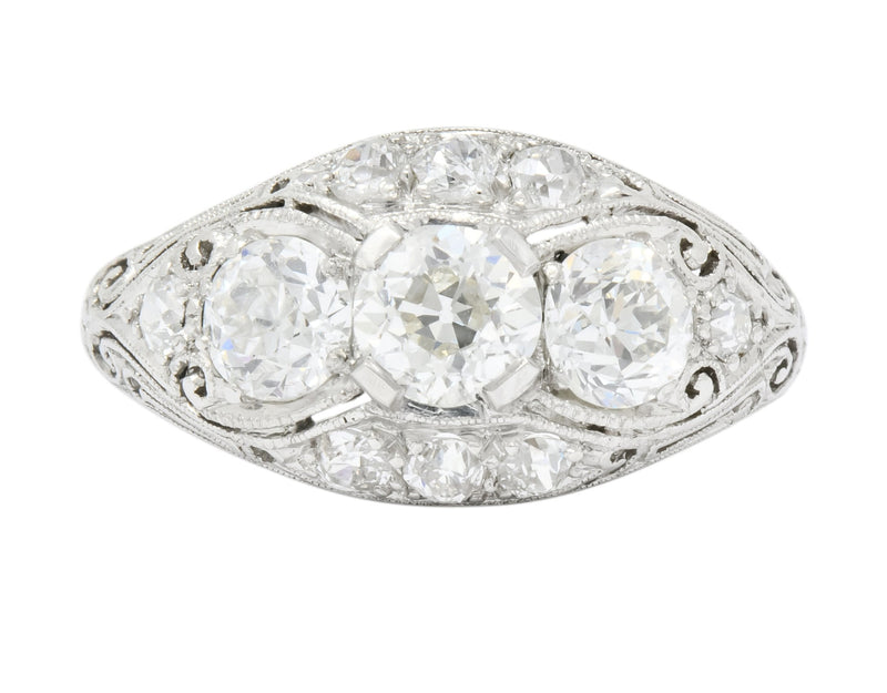 Edwardian 1.45 CTW Old European Diamond Platinum Three Stone Ring - Wilson's Estate Jewelry