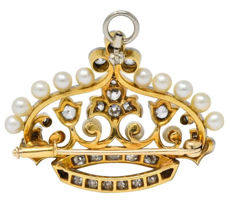 Edwardian 1.58 CTW Old European Diamond Pearl Platinum-Topped Gold Crown Pendant Brooch - Wilson's Estate Jewelry
