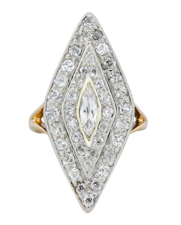 Edwardian 1.60 CTW Diamond Platinum-Topped 14 Karat Gold Navette Dinner Ring Ring