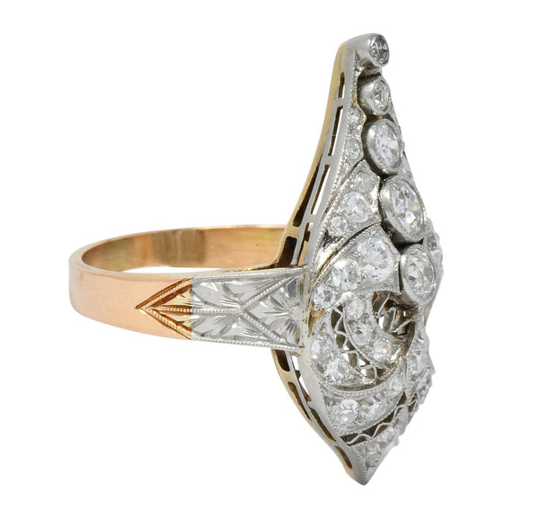 Edwardian 1.60 CTW Old European Diamond Platinum 14 Karat Rose Gold Cocktail Ring Ring