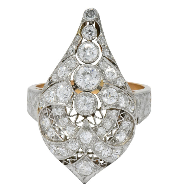 Edwardian 1.60 CTW Old European Diamond Platinum 14 Karat Rose Gold Cocktail Ring - Wilson's Estate Jewelry
