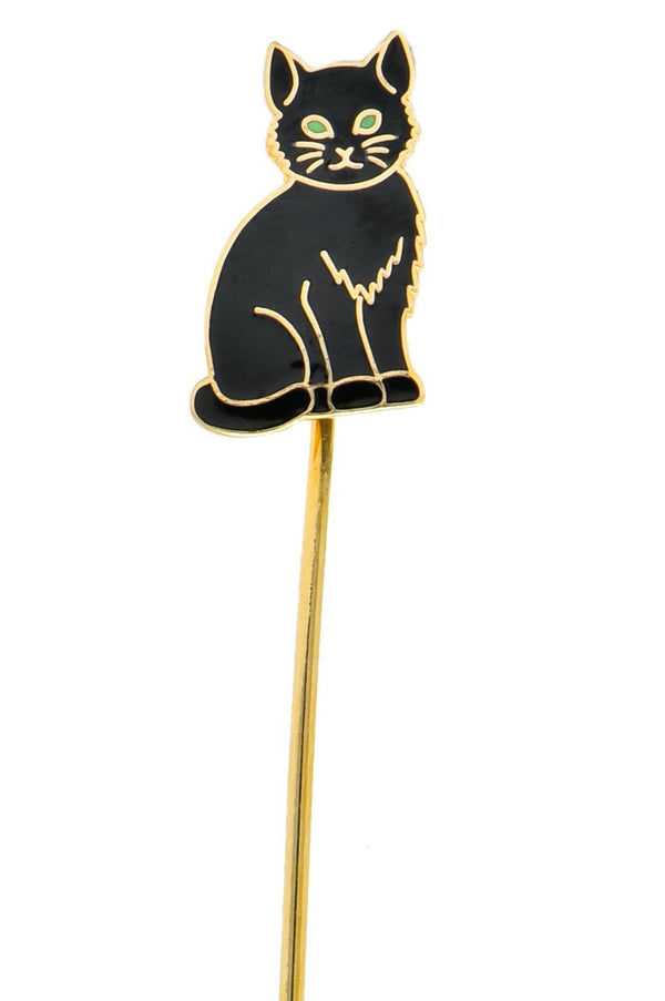 Edwardian 14 Karat Gold Enamel Black Cat Stick Pin Brooch