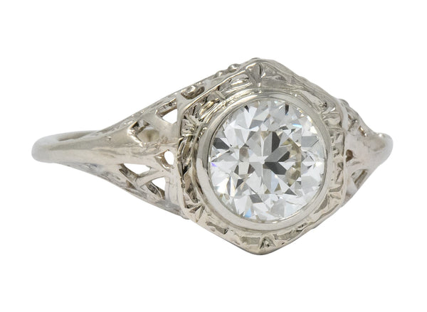 Edwardian 1920s 1.46 CTW Diamond 14 Karat White Gold Engagement Ring GIA Ring