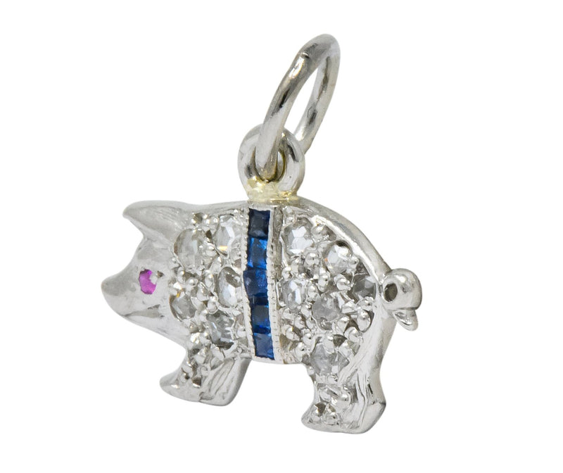 Edwardian 1920's Diamond Sapphire Ruby Platinum Pig Charm - Wilson's Estate Jewelry