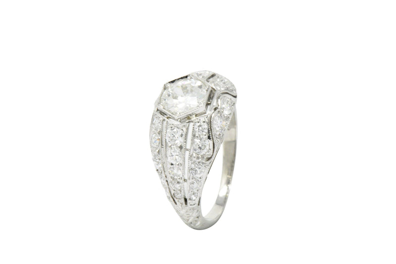 Edwardian 2.06 CTW Diamond Platinum Alternative Engagement Ring GIA Certified Ring Edwardian GIA