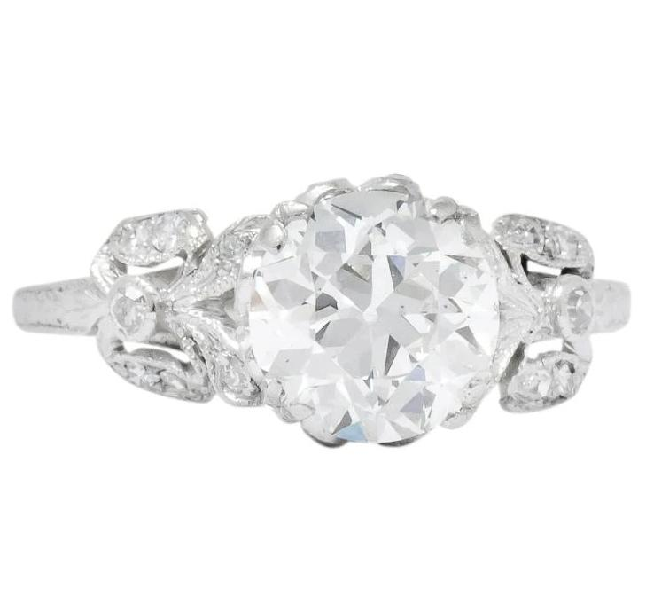 Edwardian 2.07 CTW Old European Cut Diamond Platinum Floral Engagement Ring GIA - Wilson's Estate Jewelry
