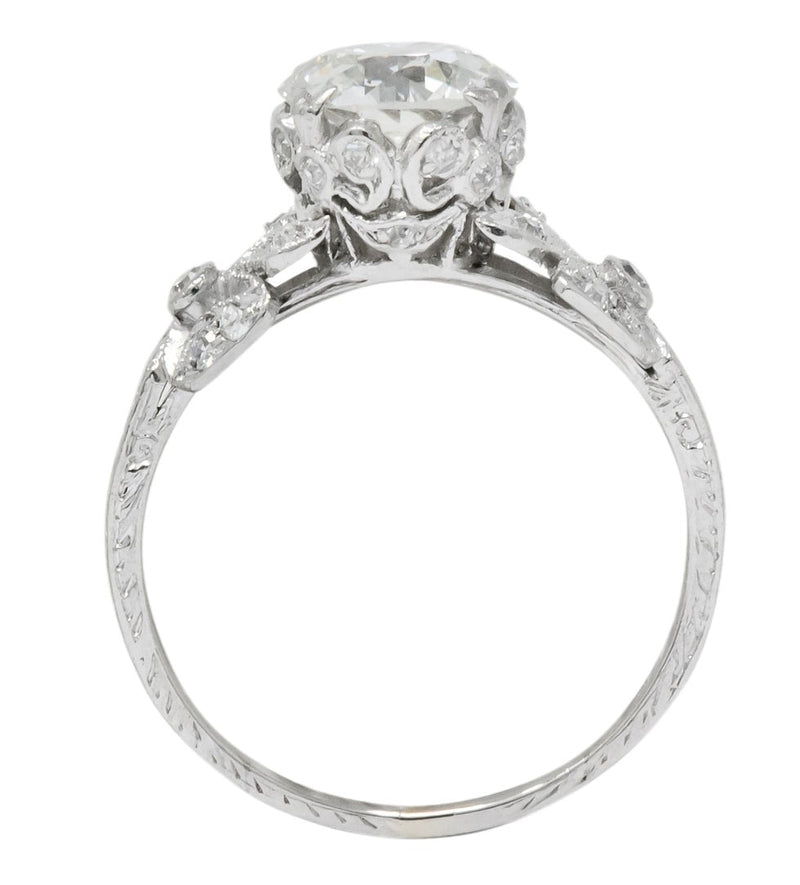 Edwardian 2.07 CTW Old European Cut Diamond Platinum Floral Engagement Ring GIA Ring