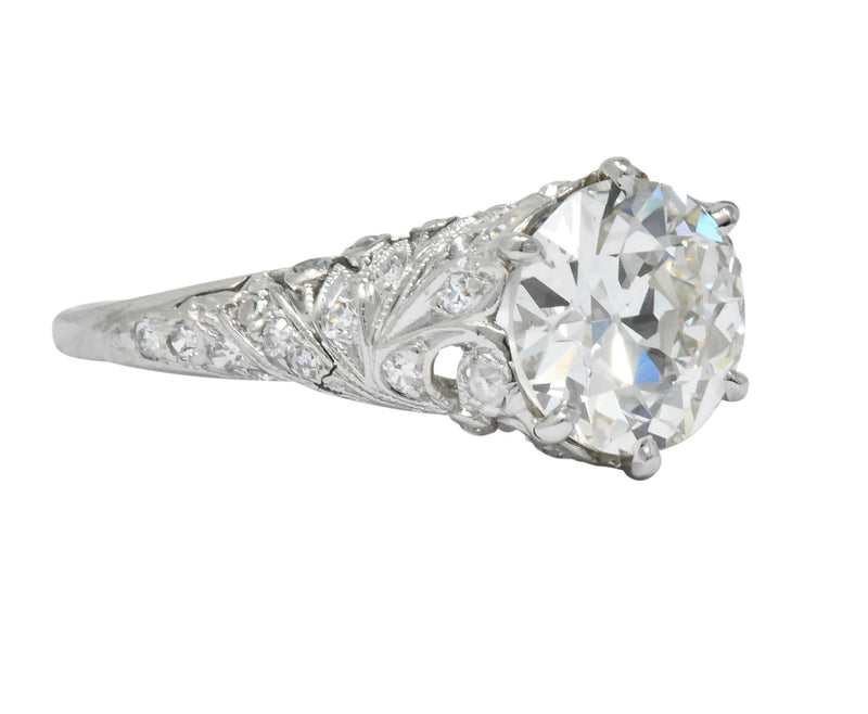 Edwardian 2.23 CTW Transitional Cut Diamond Platinum Engagement Ring GIA - Wilson's Estate Jewelry
