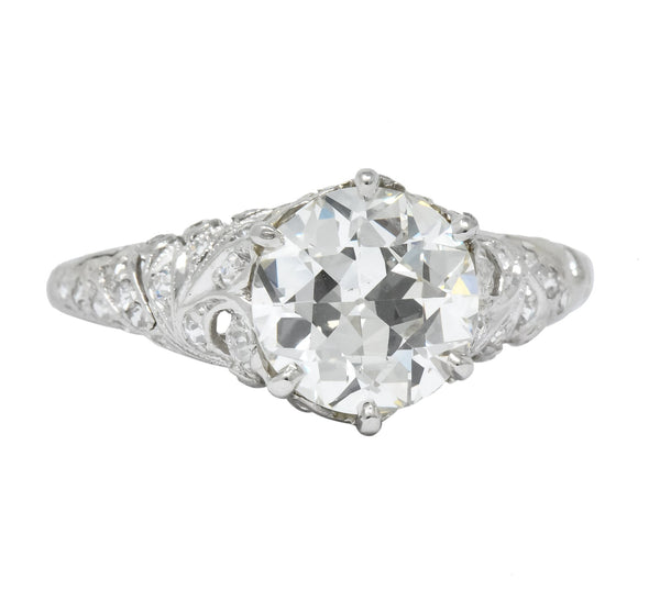 Edwardian 2.23 CTW Transitional Cut Diamond Platinum Engagement Ring GIA Ring
