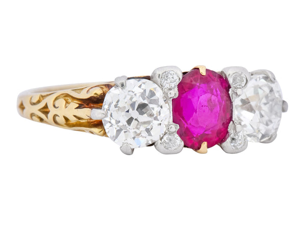 Edwardian 2.48 CTW Burma Ruby Diamond 18 Karat Gold Platinum Three Stone Ring Ring