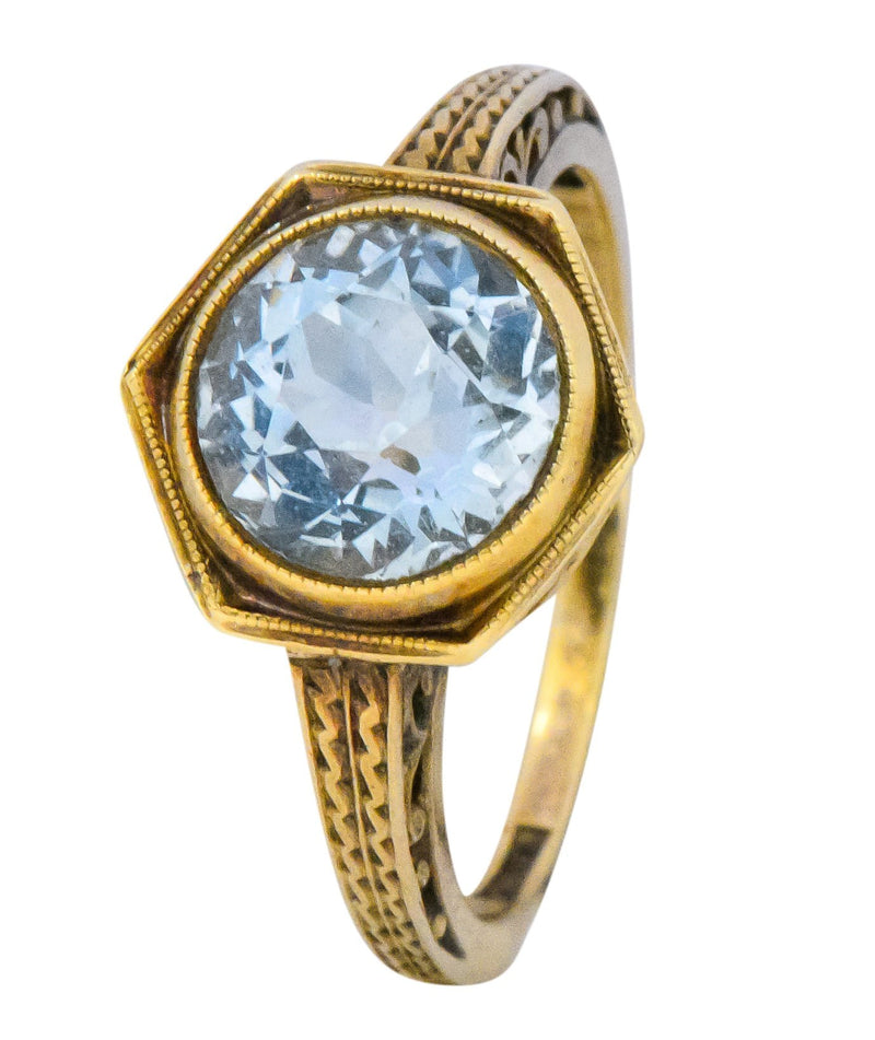 Edwardian 2.50 CTW Aquamarine 14 Karat Gold Ring Ring
