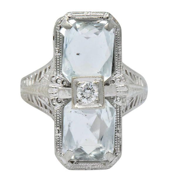 Edwardian 2.60 CTW Aquamarine Diamond 18 Karat White Gold Ring Ring