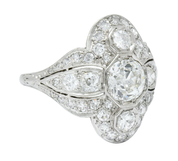 Edwardian 2.60 CTW Old European Diamond Platinum Quatrefoil Dinner Ring - Wilson's Estate Jewelry