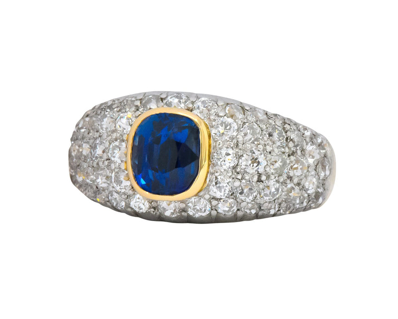 Edwardian 2.75 CTW Sapphire Diamond Platinum-Topped 18 Karat Gold Pave Band Ring - Wilson's Estate Jewelry