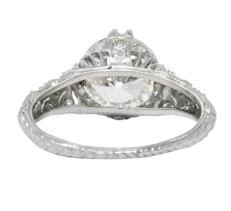 Edwardian 2.89 CTW Old European Cut Diamond Platinum Engagement Ring GIA Ring
