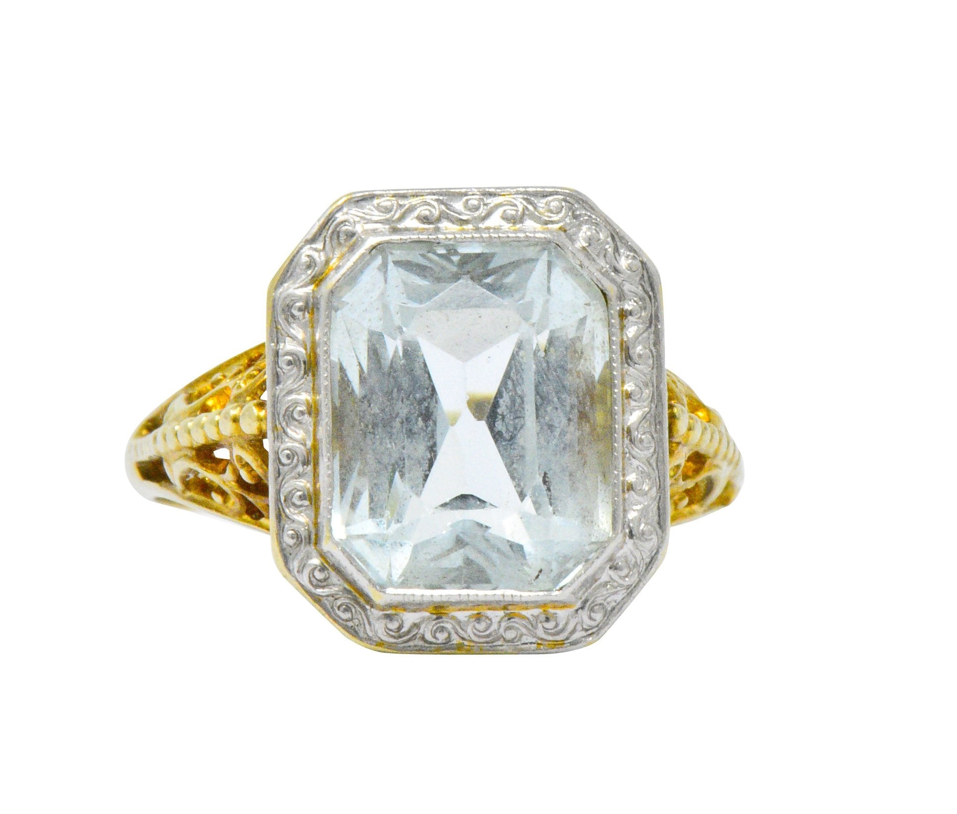 62517fa68 Edwardian 3.00 CTW Aquamarine Platinum-Topped 14 Karat Gold Ring Ring ...