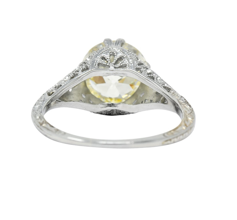Edwardian 3.01 CTW Diamond 18 Karat White Gold Solitaire Engagement Ring GIA - Wilson's Estate Jewelry