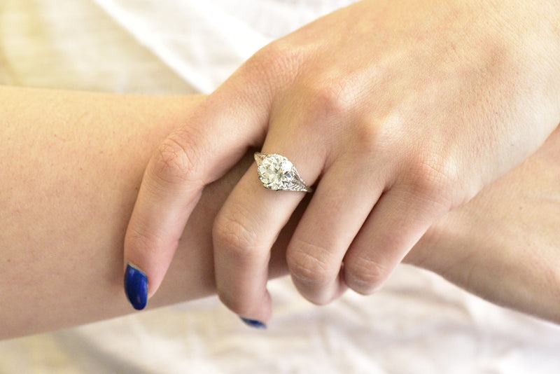 Edwardian 3.32 Ctw Old European Diamond & Platinum Engagement Ring Gia Certified Ring