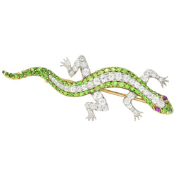 Edwardian 3.40 CTW Diamond Demantoid Garnet Ruby Platinum-Topped Gold Lizard Brooch Brooch