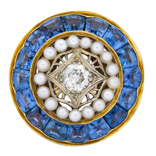 Edwardian 4.00 CTW Diamond Pearl Sapphire Platinum 14 Karat Gold Cocktail Ring Ring
