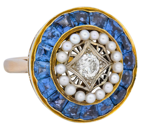 Edwardian 4.00 CTW Diamond Pearl Sapphire Platinum 14 Karat Gold Cocktail Ring - Wilson's Estate Jewelry
