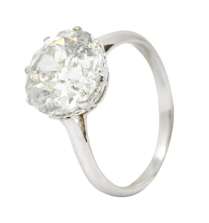 Edwardian 4.30 CTW Old European Cut Diamond Platinum Engagement Ring Circa 1915 Ring