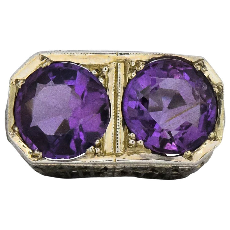 Edwardian 4.80 CTW Amethyst 14 Karat White Gold Ring - Wilson's Estate Jewelry