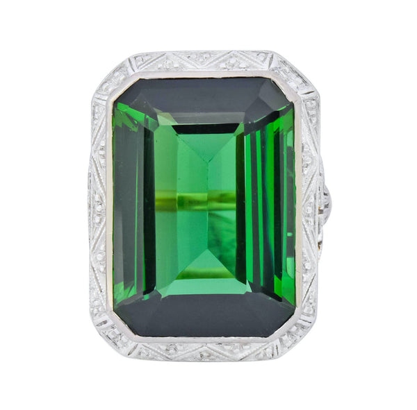 Edwardian 45.28 CTW Green Tourmaline Platinum-Topped 14 Karat Gold Cocktail Ring Ring