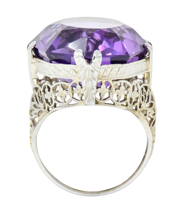 Edwardian Amethyst 18 Karat White Gold Floral Lace Cocktail Ring Ring amethyst edwardian