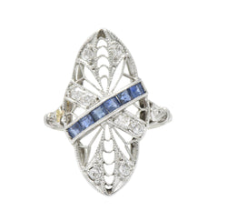 Edwardian Antique 0.55 CTW Diamond Sapphire Shield Navette Ring Ring Edwardian