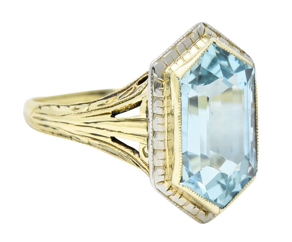 Edwardian Aquamarine Platinum-Topped 14 Karat Gold Hexagonal Ring Ring aquamarine edwardian Most Wanted out-of-stock