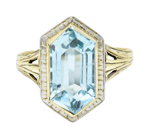 Edwardian Aquamarine Platinum-Topped 14 Karat Gold Hexagonal Ring Ring