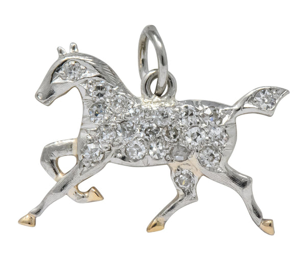 Edwardian Ca. 1920 Diamond Platinum-Topped 14 Karat Gold Horse Charm - Wilson's Estate Jewelry