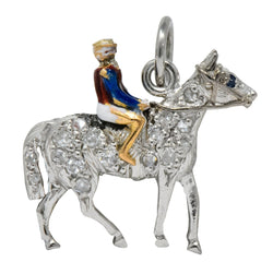 1920's Edwardian Diamond Sapphire Enamel Gold Platinum Racehorse Charm - Wilson's Estate Jewelry