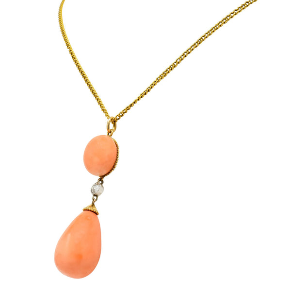 Edwardian Coral Diamond Platinum Gold Drop Pendant Necklace Circa 1940s Necklace coral diamond out-of-stock Retro transitional cut