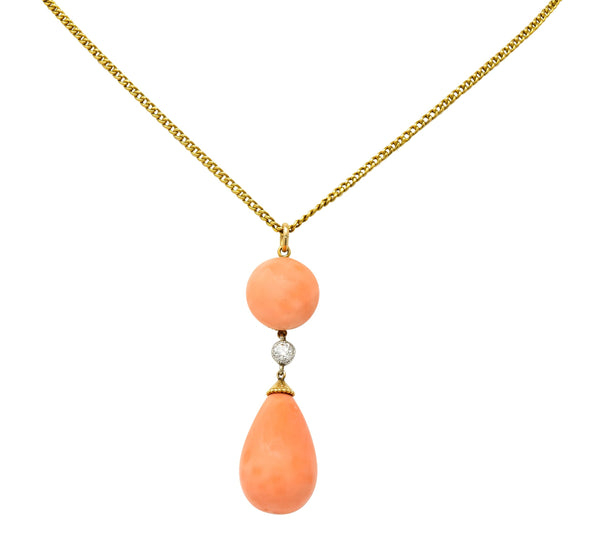 Edwardian Coral Diamond Platinum Gold Drop Pendant Necklace Circa 1940s Necklace