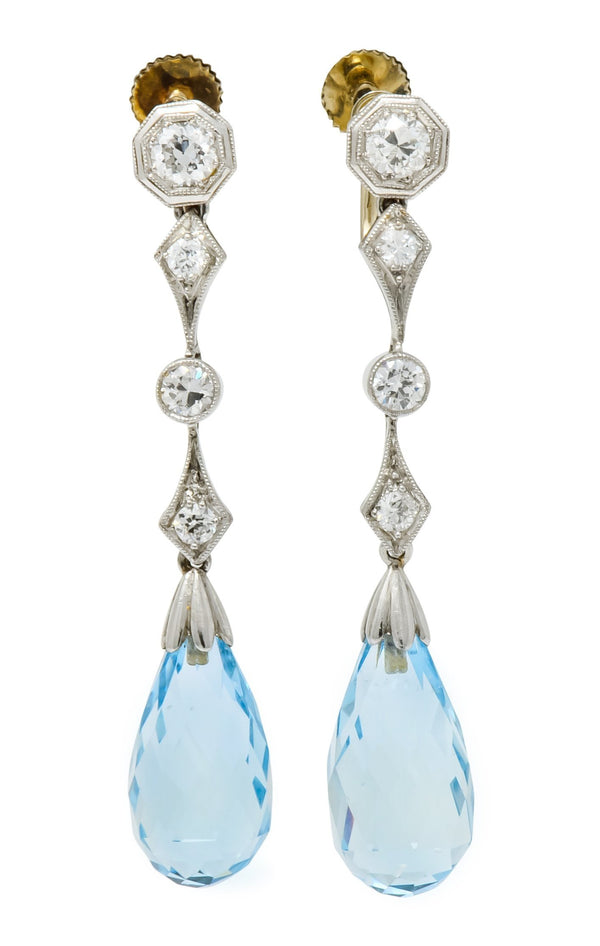 Edwardian Diamond Aquamarine Briolette Platinum Drop Earrings - Wilson's Estate Jewelry
