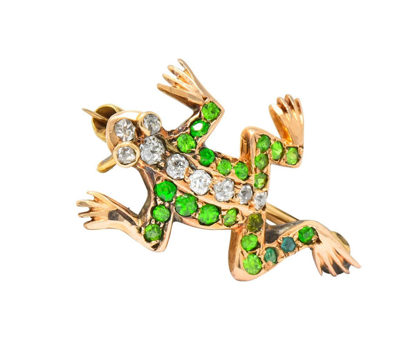 Edwardian Diamond Demantoid Garnet 14 Karat Gold Frog Brooch Circa 1900 Brooch