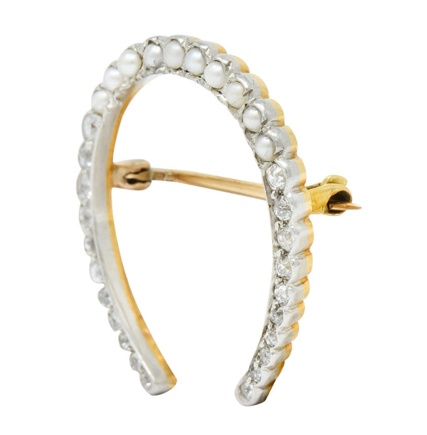 Edwardian Diamond Pearl Platinum-Topped 14 Karat Gold Horseshoe Brooch Brooch