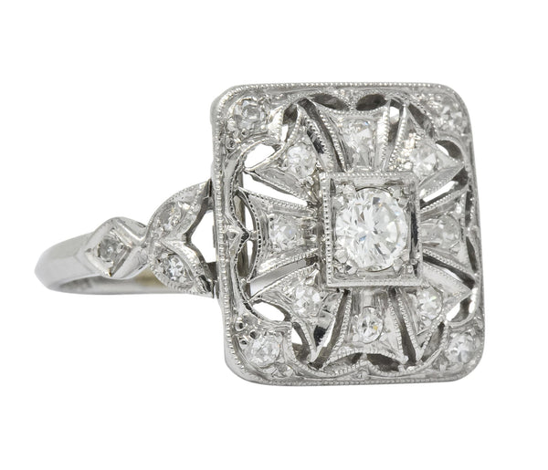 Edwardian Diamond Platinum Geometric Dinner Ring Ring