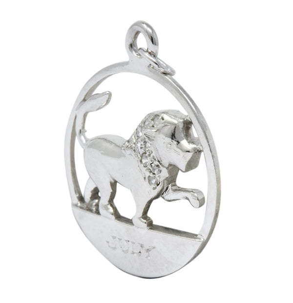 Edwardian Diamond Platinum Leo Lion Zodiac Charm - Wilson's Estate Jewelry