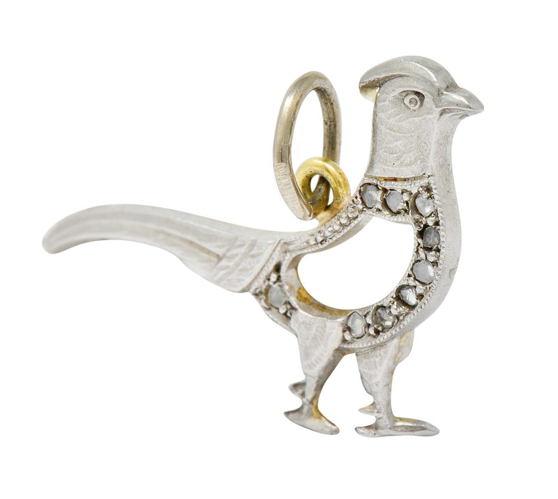 Edwardian Diamond Platinum-Topped 18 Karat Gold Pheasant Bird Charm - Wilson's Estate Jewelry