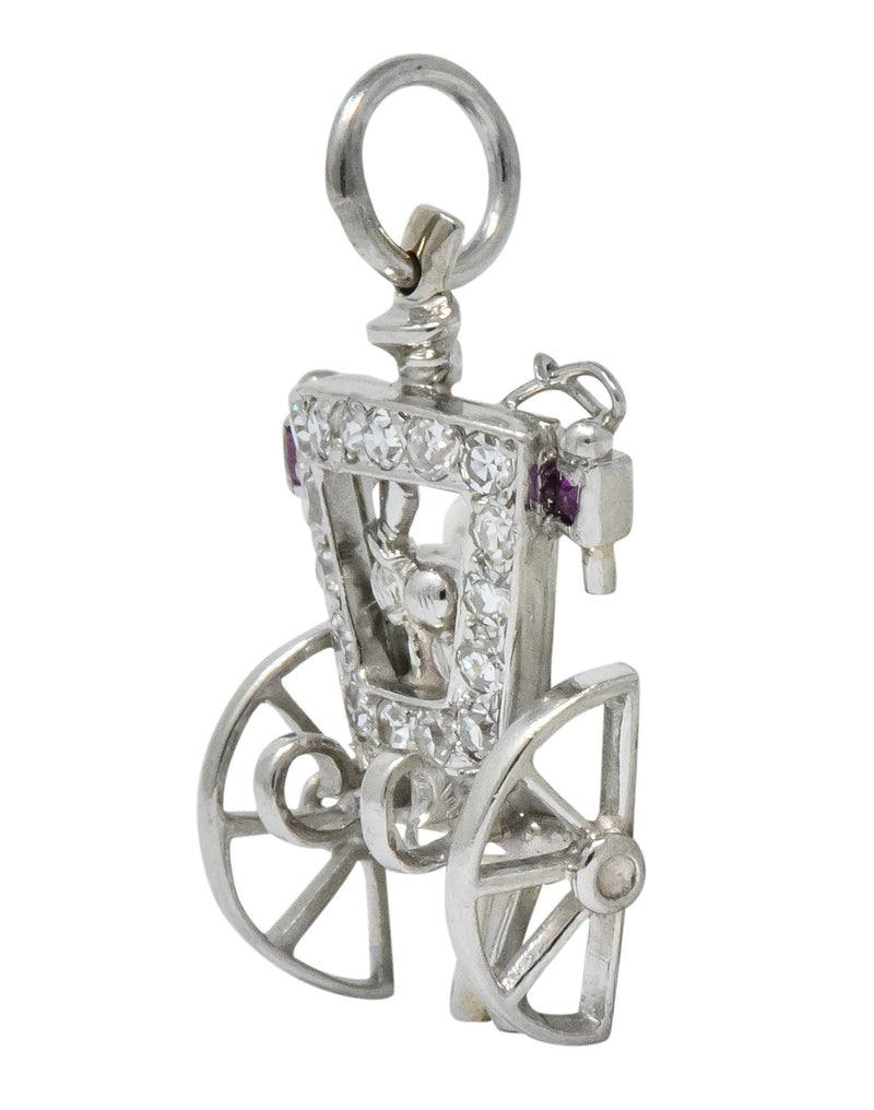 Edwardian Diamond Ruby Platinum Just Married Couple in Carriage Charm - Wilson's Estate Jewelry