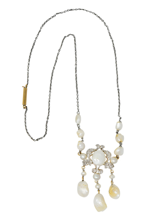 Edwardian Freshwater Natural Pearl Diamond Platinum-Topped 14 Karat Gold Drop Necklace - Wilson's Estate Jewelry