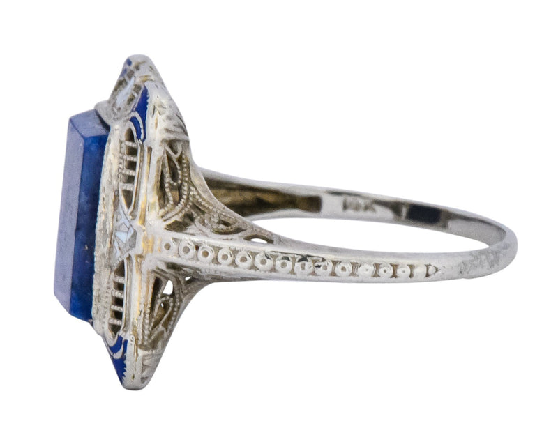 Edwardian Lapis Lazuli Enamel 14 Karat White Gold Dinner Ring - Wilson's Estate Jewelry